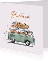 Verjaardagskaart busje met bloemen