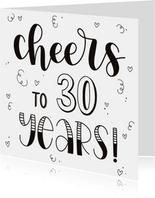 Verjaardagskaart - Cheers to 30 years!