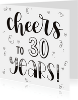 Verjaardagskaart - Cheers to 30 years!