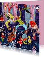 Verjaardagskaart circus & muziek in het bos
