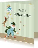 Verjaardagskaart circus met clown taart cupcakes en hond
