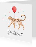 Verjaardagskaart confetti luipaard jungle ballon feestbeest