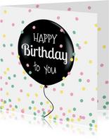 Verjaardagskaart confetti pastel