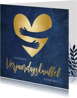 Verjaardagskaart corona papieren knuffel met gouden hart