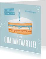 Verjaardagskaart corona taartje quarantaine feestje man