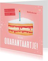 Verjaardagskaart corona taartje quarantaine feestje vrouw