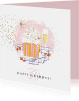 Verjaardagskaart cupcake champagne sterren goud