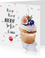 Verjaardagskaart - cupcake met fruit