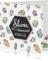 Verjaardagskaart diamanten