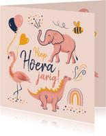 Verjaardagskaart dino flamingo olifant