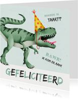 Verjaardagskaart dino t-rex taart stoer
