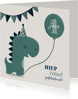 Verjaardagskaart dinosaurus met vlagjes en hoedje