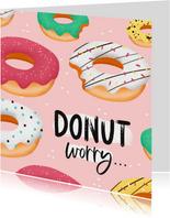 Verjaardagskaart donuts worry confetti vrouw meisje
