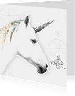 Verjaardagskaarten - Verjaardagskaart eenhoorn met vlinder