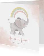 Verjaardagskaart eerste verjaardag met olifantje & regenboog