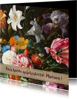Verjaardagskaart en kleurrijke bloemenschilderij
