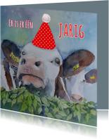 Verjaardagskaart Feest koe
