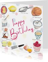 Verjaardagskaart feest recept taart
