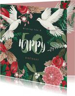 Verjaardagskaart feestelijke winter bloemen en duiven