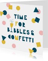 Verjaardagskaart feestje bubbels en confetti