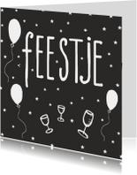 Verjaardagskaart Feestje zwart-wit