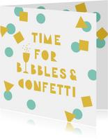 Verjaardagskaarten - Verjaardagskaart felicitatie confetti bubbels