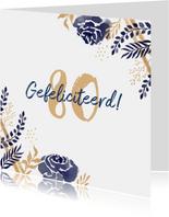 Verjaardagskaart felicitatie stijlvol bloemen blauw goud
