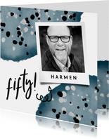 Verjaardagskaart 'fifty' met waterverf en spetters