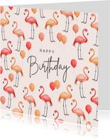 Verjaardagskaart flamingo ballonnen roze waterverf
