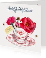 Verjaardagskaart Fleurig kopje bloemen