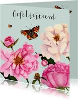 Verjaardagskaart fleurige pioenrozen
