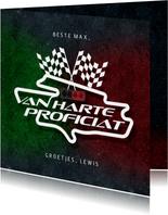 Verjaardagskaart formule 1 auto sport race