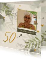 Verjaardagskaart foto takjes gouden hartjes en waterverf gro