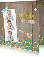 Verjaardagskaart fotocollage jongen confetti