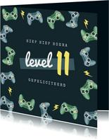 Verjaardagskaart gamen controllers level kind