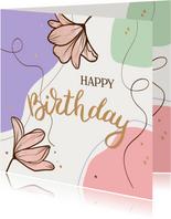 Verjaardagskaart gekleurde vlakken met bloemen