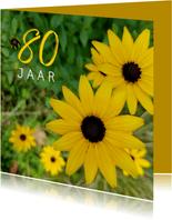 Verjaardagskaart Gele bloemen 80 jaar