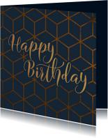Verjaardagskaart geometrisch Happy Birthday