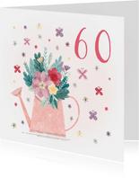 Verjaardagskaart gieter met leeftijd, bloemen en vlinders