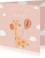 Verjaardagskaart Giraffe - Meisje
