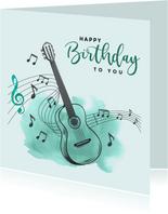 Verjaardagskaart - Gitaar met muzieknoten en watercolor