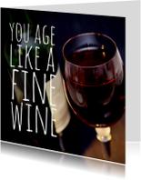 Verjaardagskaart glas wijn