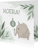 Verjaardagskaart groen 1 jaar olifant met vogeltje