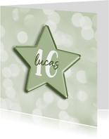 Verjaardagskaart groen met leeftijd in folieballon ster