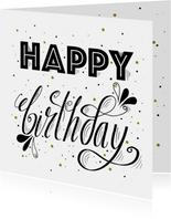 Verjaardagskaart handlettering happy birthday