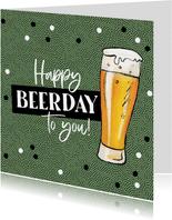 Verjaardagskaart happy beerday bier stoer man confetti