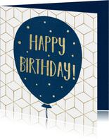Verjaardagskaart - Happy Birthday Ballon en Confetti