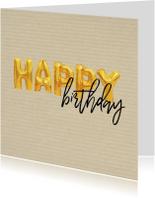 Verjaardagskaart happy birthday ballonnen