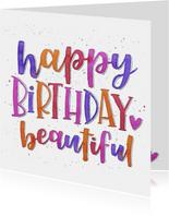Verjaardagskaart - Happy birthday beautiful