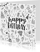 Verjaardagskaart - Happy birthday doodles